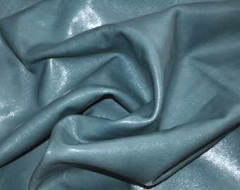 Approximately 7 Square Feet Teal Blue Leather Hide