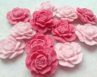 Edible sugar peonies / open roses cupcake toppers, cake  decorations, ideal for wedding cakes and birthday cakes. 50 flowers.