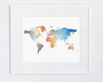 Rainbow world map print, printable world map poster, instant download, colorful world map, geometrical pattern printable wall art digital