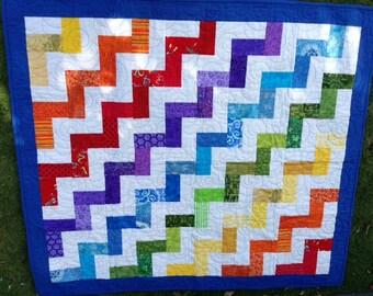 Rainbow Zig Zag Baby Quilt