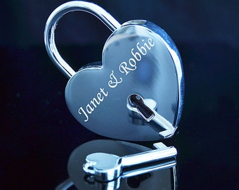 Text Engraved Silver Padlock  with Key Romantic Gift