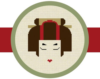 Cross Stitch Pattern Chart, Japanese Geisha