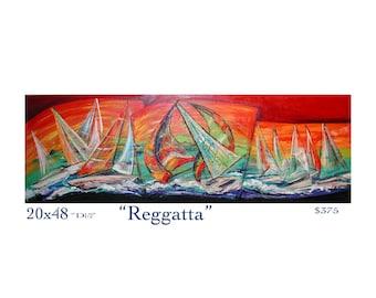 Sailboat regatta abstract acrylic painting, abstract sailboats original painting