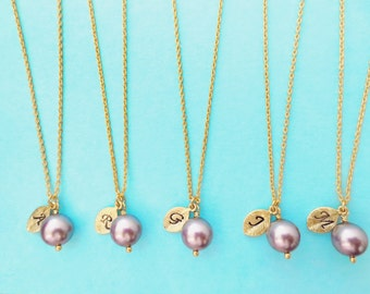 Set of 5, Personalized, Letter, Initial, Mauve, Swarovski, Pearl, Gold, Necklace, Sets, Wedding, Bridesmaid, Bridal, Gift, Jewelry