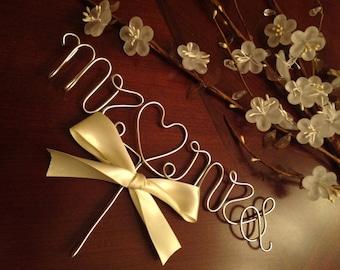 Weddingwire Custom Cake Design : Mr. And Mrs. wedding cake topper gold Cake by ArtsyBridalShop