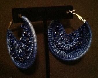 Crocheted Blue Pierced Earrings