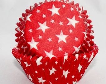 Red & White Star Cupcake Papers