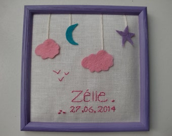 Frame embroidery birth gift (hand made & custom)