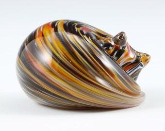 Sleeping Cat Glass Sculpture, Tortoise