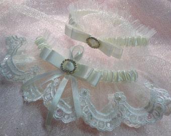 "Wedding Garter. The ""Corinne"" Ivory Garter Set"
