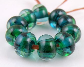 Teal Swirls Made to Order SRA Lampwork Handmade Artisan Glass Spacer Beads Set of 10 5x9mm