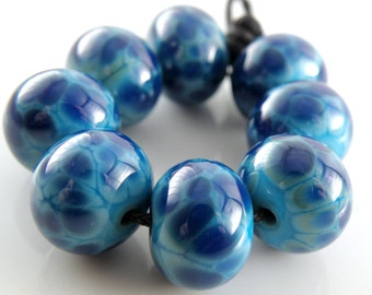 Turquoise Blues SRA Lampwork Handmade Artisan Glass Donut/Round Beads Made to Order Set of 8 8x12mm