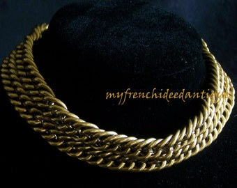 CHANEL necklace link double row signed vintage french jewelry vintage Made in France Paris