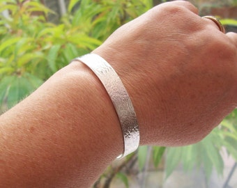 Embossed Cuff Bracelet, Bangle, Satin & Lace Cuff, Sterling Silver 925