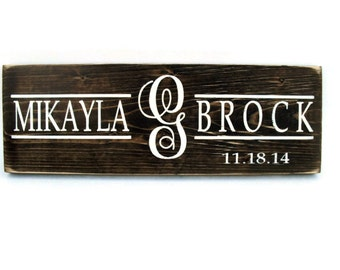 Wedding Sign Rustic Wood Personalized Plaque Gift Wall Decor - Monogram (#1256)