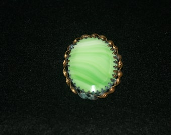 Green And White Brooch