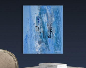 Abstract Modern Painting by Artoosh Blue, Black, Gray, White