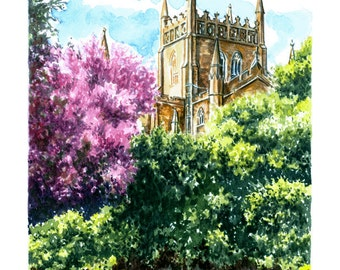 Original Watercolour Study, Dunfermline Abbey, Dunfermline, Fife. Watercolour of the historic Abbey in the ancient capital of Scotland.