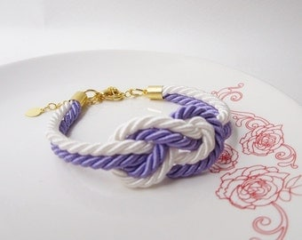 wedding gift, baby shower gift,maid of honor gift bridesmaid, tie a knot bracelet in lavender purple,nautical bracelet