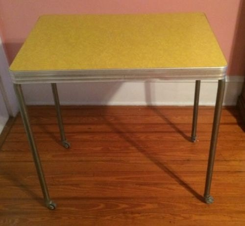 Vintage Yellow Formica Kitchen Rolling Cart Trolley Table