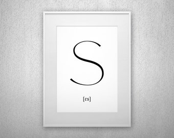 Typography Art Print - S - Letter poster - Printable - Wall Art