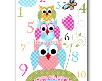 Owl Nursery Numbers Nursery Digital file Children Art Kids Wall Art Baby Girl Room Decor Baby Girl Nursery 8x10 11X14 INSTANT DOWNLOAD rose