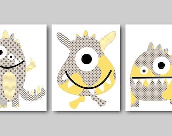 Monster Nursery Download Baby Boy Nursery Art Digital Wall Art Printable Digital Print Download Print set of 3 8x10 11X14 INSTANT DOWNLOAD