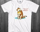 Calvin & Hobbes T-shirt Tiger and a Boy Hug BFF funny comics fan Youth Adult toddler size Tee Shirts Can be Custom Personalized