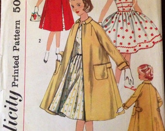 Simplicity 1934 - Girl's Full Skirt Dress with Boat Neck, Rick Rack Trim and Matching Coat - Size 7