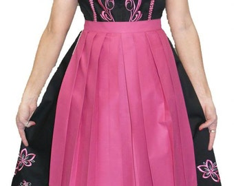 3-Piece Long Black And Pink German Dirndl Dress 2 4 6 8 10 12 16 18 20 22 24 26 XS S M XL 2XL