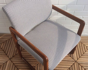1960s Mid Century Modern Danish Scandinavian Design Solid Teak Cubic Chair Houndstooth Pattern