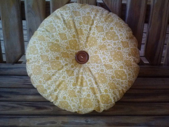 Round Yellow Decorative Pillow : Items similar to Round pillow, throw pillow. Yellow, decorative pillow. Couch cushion, shabby ...