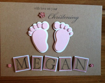 Personalised christening card -girl