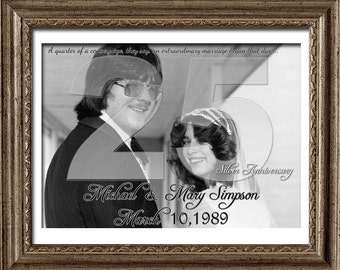 25th Wedding Anniversary Gift - 25th Anniversary Print - Silver Wedding Photo Gift -  25 years - custom photo gift for parents