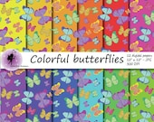Colorful butterflies Digital Paper, butterflies  on colorful backgrounds, Summer Scrapbooking Papers, paper with butterflies, commercial use