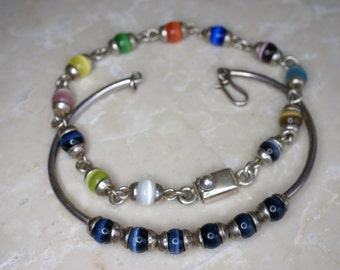 Set of Two Sterling and Fiber Optic Glass Bead Bracelets
