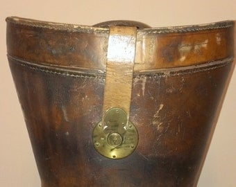 Vintage Leather Top Hat Box/Bucket-Style