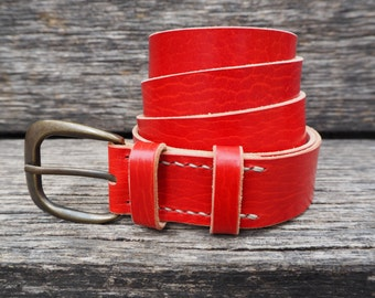 Leather belt, red, handmade,  italian cattle leather, with antiqued buckle