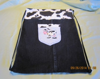 Recycled Black Jeans Cinch Sack Backpack Cow Print: #54