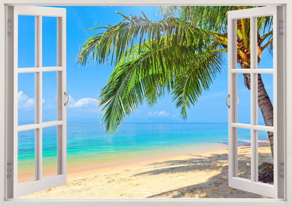 Palm tree beach wall decals 3d window tropical beach wall for Beach wall mural decals