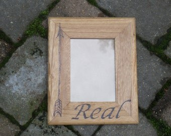 REAL Hunger Games 5x7 Picture Frame, Mockingjay, Arrow, Wood Burned Frame