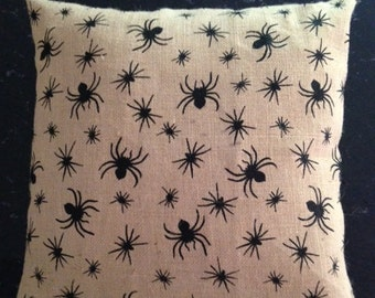 Burlap Pillow Cover with Spider Design