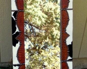 Beautiful Handmade Cowhide/Alligator Western Mirror