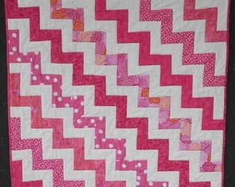 Pink Baby Quilt - Modern Baby Girl Patchwork Quilt