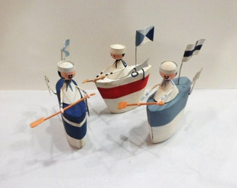 Rustic Rowing Sailor in Boat -  Nautical Home Decoration.