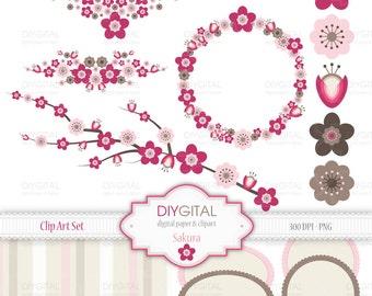 Sakura (cherry blossom) Clip Art Set - 13 Printable cliparts + 1 digital paper for scrapbooking, cards, web graphics - Instant Download