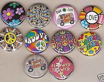 Flower  Power Peace Hippie 10 Pins Button Badge Pinback