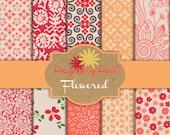 PAPER KIT: Orange, red, yellow floral
