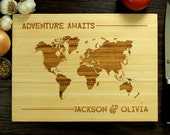 Personalized Engraved Wood Cutting Board, Personalized Wedding Gift, Adventure Awaits - For Dominique Grande