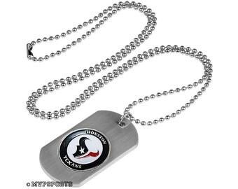 Houston Texans Dog Tag Beaded Necklace